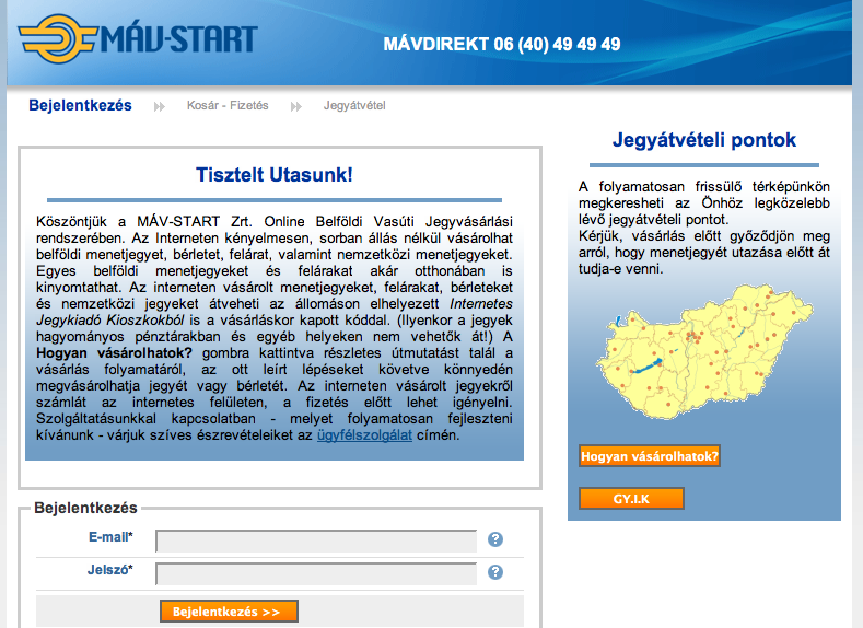 Register on Hungarian MAV to buy a train ticket