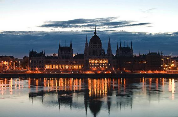Hungarian Parliament in Budapest - reflection in the river Danube
