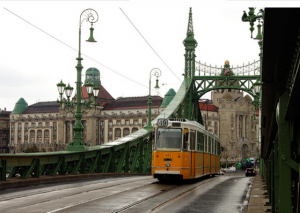 Liberty Bridge with Danubius Hotel Gellert in the background, Budapest
