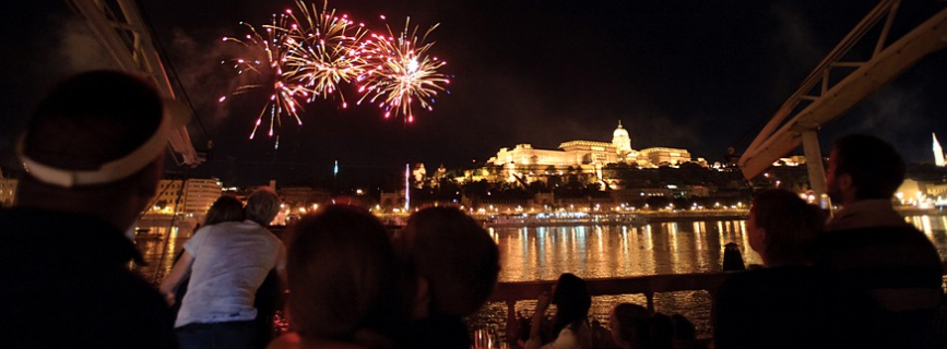 Budapest Fireworks Show from Columbus Pub Ship Restaurant