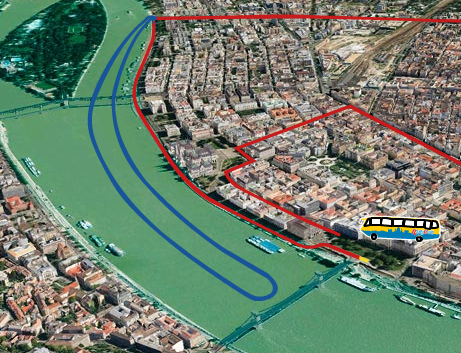 Budapest River Ride route