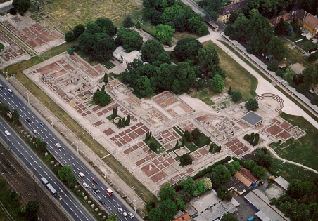 Aquincum, a Roman settlement in Budapest (Obuda district) - aerial photo