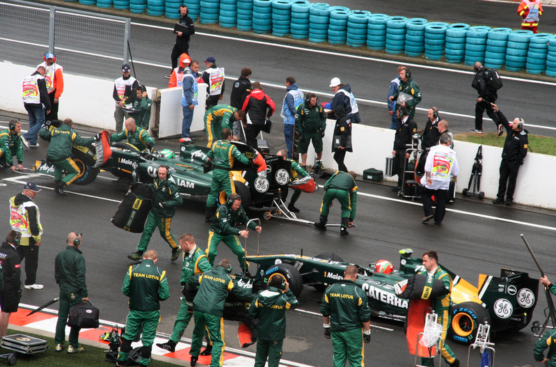 Car Team at the Pit Stop - Hungarian GP - photo by Rachel Clarke