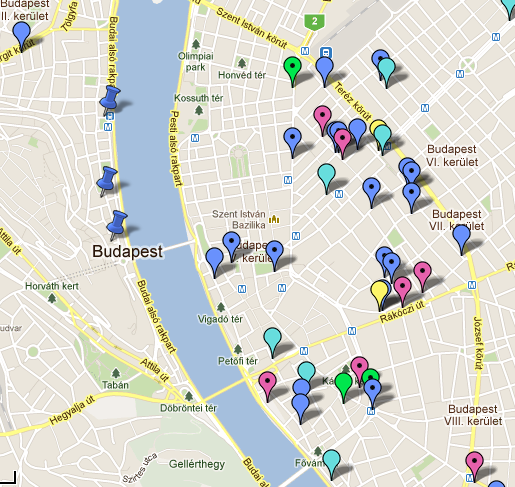 Budapest Pubs, Bars and Clubs Map